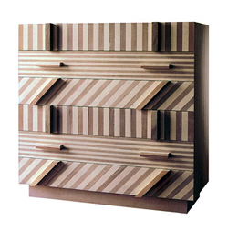 Ettore Sottsass. Striped Drawer Unit. Walnut, maple, cherry, 120 x 118 x 50 cm. Produced by Boscaro Project, Italy.