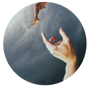 """Between The Wish And The World"", Mark Dancey (oil on board, 2009, 24"" diameter)"